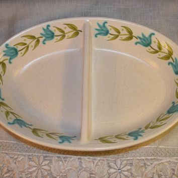 Franciscan Tulip Time Divided Dish Vintage Earthenware California Pottery Serving Tray Turquoise Teal & Olive Bowl Holiday Serving Bowl