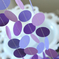 Purple Wedding Decorations . 10ft Paper Garland . Bridal Shower / Birthday Party Decor