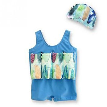 One-piece Girls Boys Buoyancy Vest Float Suit Baby Toddler Child Swimming Aid With Swimming Cap Swimming Set