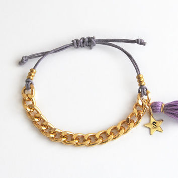 Personalized bracelet with chain and tassel, violet bracelet, initial bracelet, hand stamped initial star charm, gift for her