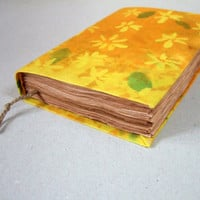 sunny Handmade batik fabric journal, yellow, orange,flowers, notebook, diary, travel journal, antique paper, old paper 224 pages