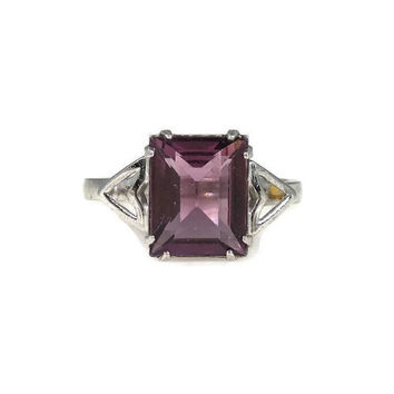 Art Deco Emerald Cut Amethyst Glass Sterling Silver Ring Size 7 Coombs Clark
