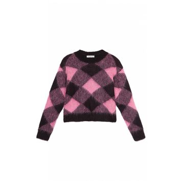 Sandro Sparks Wide Plaid Print Mohair Sweater at Sandro US