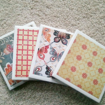 Ceramic Tile Coasters Set of Four Red by MadebyMegShop on Etsy