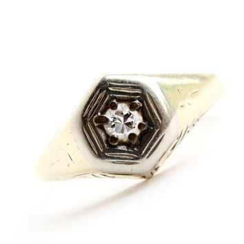 Antique 14K Yellow and White Gold Diamond Ring - Size 7 1/4 Art Deco 1920s Engagement  Fine Jewelry /  1/10 Carat in Hexagon