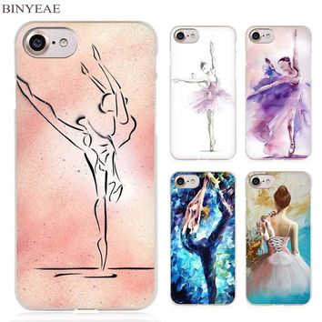 BINYEAE ballet dancer watercolor painting Clear Cell Phone Case Cover for Apple iPhone 4 4s 5 5s SE 5c 6 6s 7 Plus