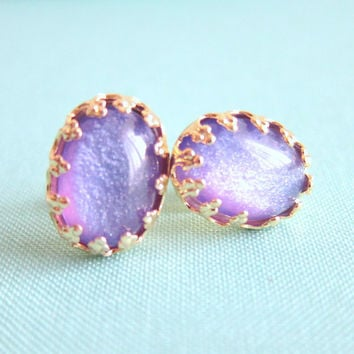 FREE SHIPPING Purple Earrings Lavender Studs Bridal Jewelry Wedding Bridesmaids Gift Violet Lilac Shimmer Gold Post The Great Gatsby