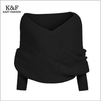 KASY Women Casual Winter Open Stitch Sweater Long Sleeve V neck Criss-Cross Short Black Sweters Fashion Pullovers Shrug Sweaters