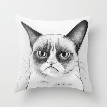 Grumpy Cat Portrait, Tard Drawing Throw Pillow by Olechka | Society6