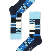 Blue multi Square cool socks for fun people at HappySocks.com