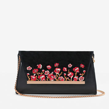 White House | Black Market Floral Embroidered Clutch