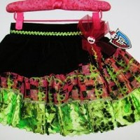 Monster High Green Multicolored Petti Skirt Girls Size 5 - 7