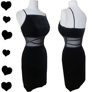 Dress Vintage 80s Black BODY CON Sheer MESH Cocktail Party Prom Dress S M Stretch Mini