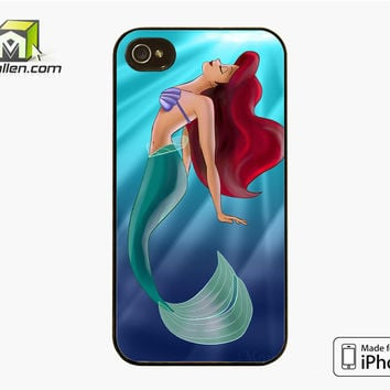 Ariel The Little Mermaid On Tiffany Blue iPhone 4S Case Cover by Avallen