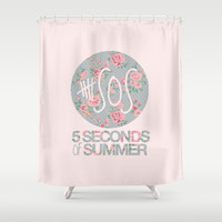 5SOS Pink Floral Shower Curtain by Valerie Hoffmann