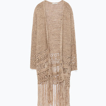 OPEN-WORK CARDIGAN WITH FRINGES