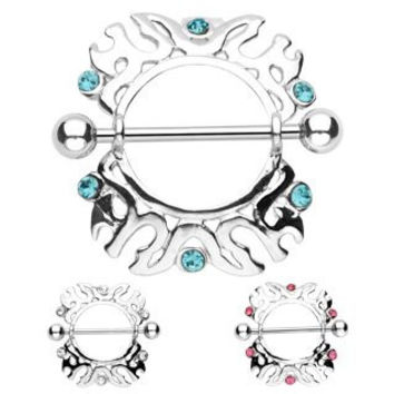 Pair of 14g Majestic Shield with 6 Pink Gems - Dangle Nipple Bar Shield Ring Barbell