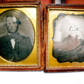 Antique 1850s Daguerreotype Photos // California Pioneer Couple // Historical Portraits