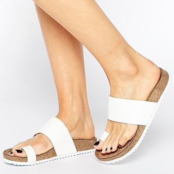 London Rebel Toe Thong Flat Sandals at asos.com