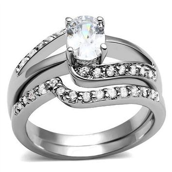 WildKlass Stainless Steel Ring High Polished (no Plating) Women AAA Grade CZ Clear
