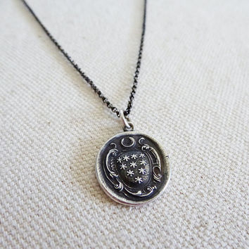 Moon & Stars Wax Seal Necklace from an antique wax seal
