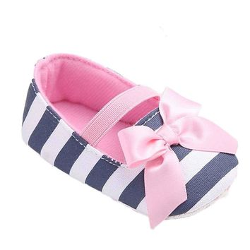 Baby Girls Striped Bowknot Softsole Shoes Sizes 2.5-4