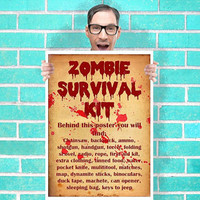 Zombie Survival Kit Art - Wall Art Print Poster 16x23 Inch - Kids Children Bedroom Geekery
