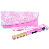 """CHI Home Breast Cancer Awareness Lady Lace 1"""" Flat Iron Iron and Pouch"""