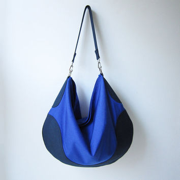 Hobo Bag - COBALT & NAVY Blue Purse - Blue Color Block / Nylon Handbag / Everyday Bag / Cross Body Strap / Free Shipping