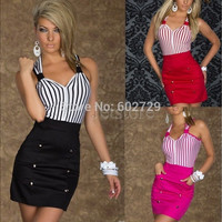 Top Quality NEW Fashion Dress Novelty Summer dresses Women Clothing Work wear Sexy Club Party Striped V neck Plus size 6913 [9305612359]