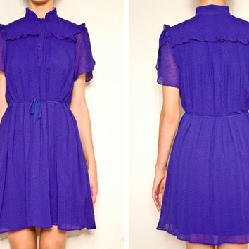 1970's polka dot purple vintage  dress, High collar dress, Mini dress, Purple dress, Sundress, Shirt dress