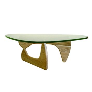 Tribeca Coffee Table Natural Wood Base Glass Top