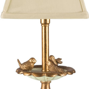 "0-016642>15""h Bird Bath 1-Light Table Lamp Gold"
