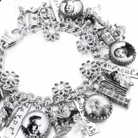 Vintage Movie Monsters Halloween Charm Bracelet