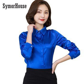 SymorHouse Women silk satin blouse button long sleeve lapel ladies office work shirts elegant female satin silk blouses shirt