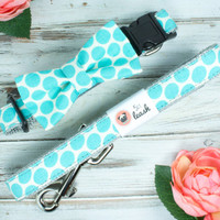 Large Teal Polka Dot Dog Collar with Removable Felt Flower or Bow Tie