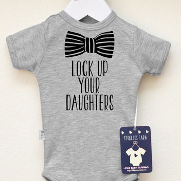 Lock Up Your Daughters Baby Boy Clothes. Baby Boy's Bodysuit with Bow Graphic. Infant Boy Clothing. Hipster Boy Shirt. Choose Your Color.