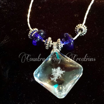 Real Preserved Snowflake for sale, Necklace, Real Snowflake, Frozen, OOAK,