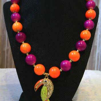Large Bead Necklace - Brazilian Janeiro Necklace - Colorful Parrot Orange and Fushia Beads - Statement Necklace