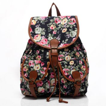 Cute Black Flower Large College Backpacks for School Bag Canvas Daypack Travel Bag