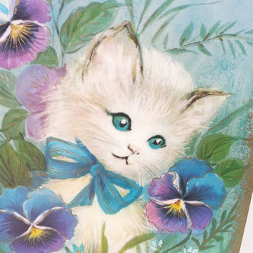 Vintage Unused Get Well Greeting Card, Cat Kitten Illustration, Paper Ephemera, Flowers Foliage, Hospital Card, Feel Better, Sick, Recovery