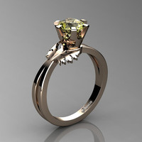 Swan 14K Rose Gold 1.0 Ct Yellow Topaz Fairy Engagement Ring R1030-14KRGYT