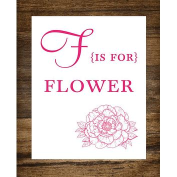 "F is for Flower Kids Playroom 8"" x 10"" Wall Print"