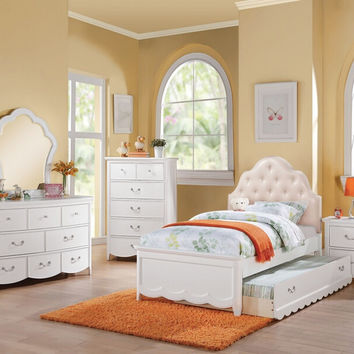 Acme 30305F 4 pc Cecilie white finish wood tufted headboard full bedroom set