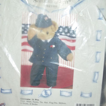 Treasured Toggery 82149 Salutin Sam 11 Piece Outfit Navy Military Teddy Bear Clothing