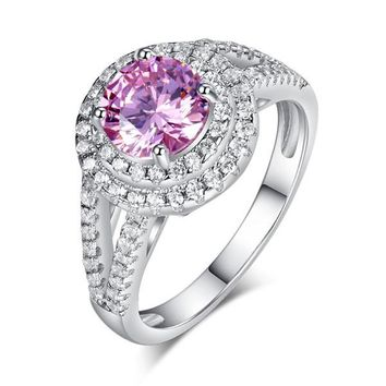 Double Halo 925 Sterling Silver Wedding Engagement Ring 1.25 Ct Fancy Pink Simulated Diamond Promise Anniversary