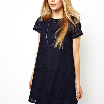 Temperament Fashion Solid Color Short Sleeve Loose Hollow Lace Mini Dress