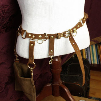 Steampunk Belt Bandolier w/ pocket pouch, Brass, brown leather, Great for Firefly Browncoat Ren Faire Festival SCA Pirate