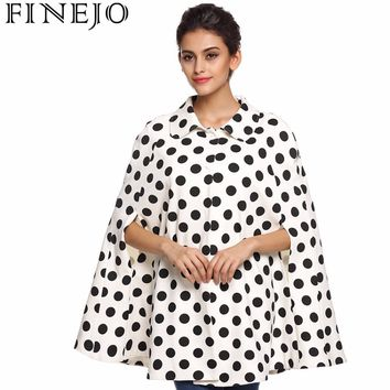 FINEJO Women Cute Poncho Cape Coat Cloak Vintage Black White Bat Sleeved Covered Button Polka Dot Lapel Outwear Trench Coats