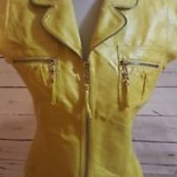 Carmin Los Angeles Jacket Women's  Size S Small yellow faux leather vest top